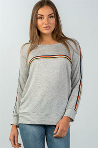 Ladies fashion round neckline colored stripes long sleeves knit top