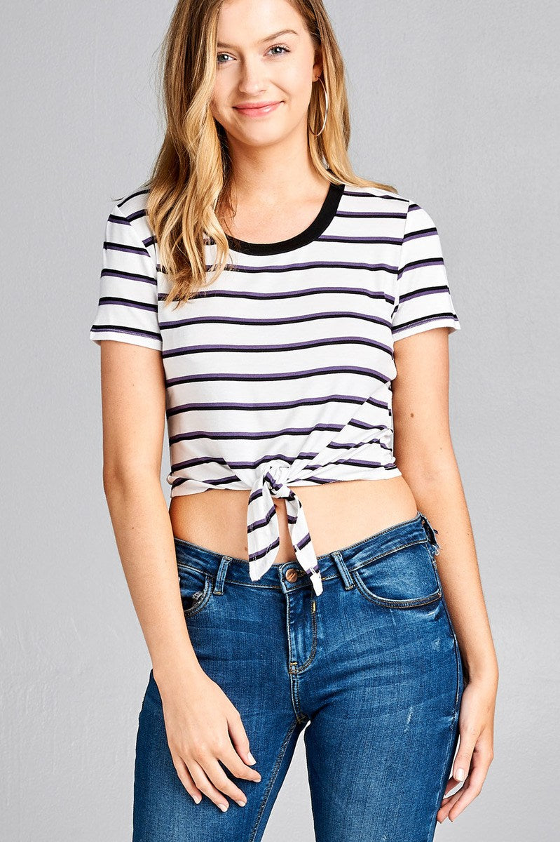 Ladies fashion short sleeve round contrast neck with knotted front crop multi stripe rayon spandex top