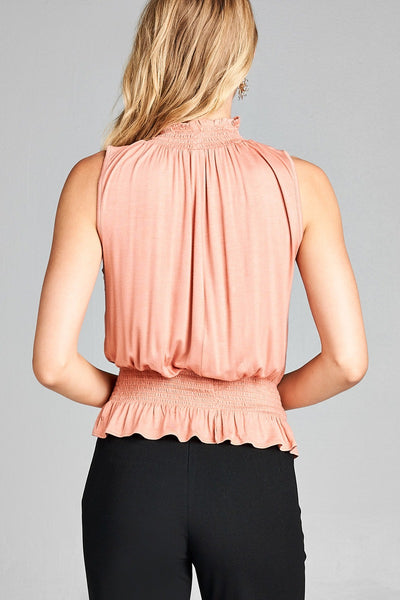 Ladies fashion sleeveless neck and waist smocked detail rayon spandex top
