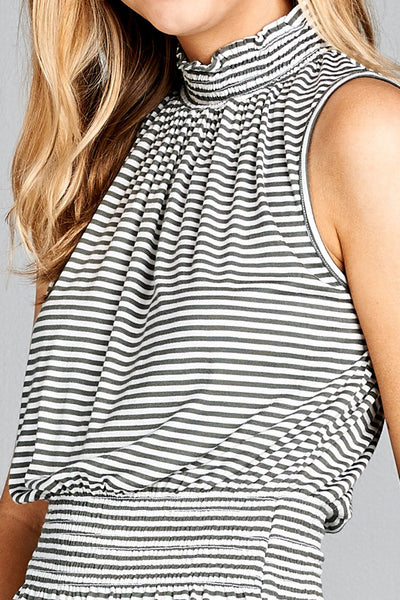 Ladies fashion Sleeveless neck and waist smocked detail stripe rayon spandex top