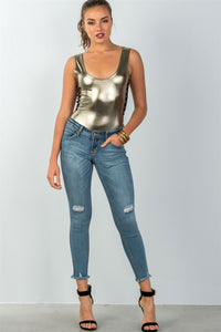 Ladies fashion metallic gold contrast strappy sides bodysuit