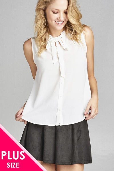 Ladies fashion plus size sleeveless v-neck self tie w/eyelet detail front button woven top