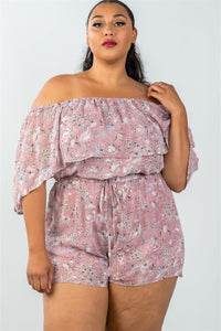 Ladies fashion plus size off the shoulder flounce floral print romper