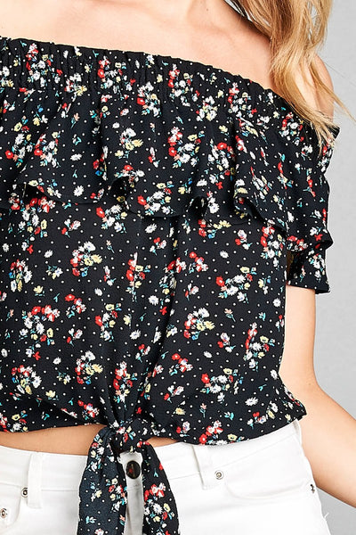 Ladies fashion off the shoulder smocked detail w/ruffle front self tie floral print crepe woven top