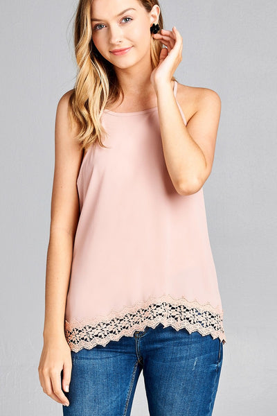Ladies fashion halter neck w/button crochet lace hem woven top
