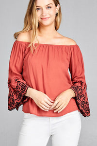 Ladies fashion 3/4 sleeve w/floral embroidered scallop hem off the shoulder woven top
