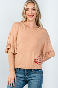 Ladies fashion loose fit ruffle short sleeves with back-tie top