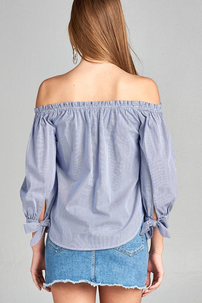 Ladies fashion sleeve tie off the shoulder stripe cotton top