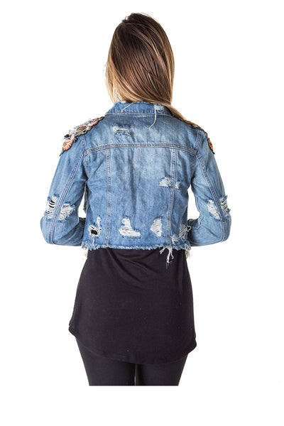Ladies fashion cropped, distress, embroidered tiger denim jacket