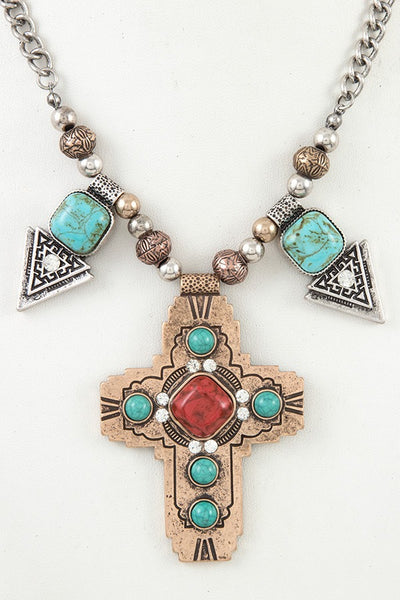 Ladies etched cross pendant faux gem necklace set