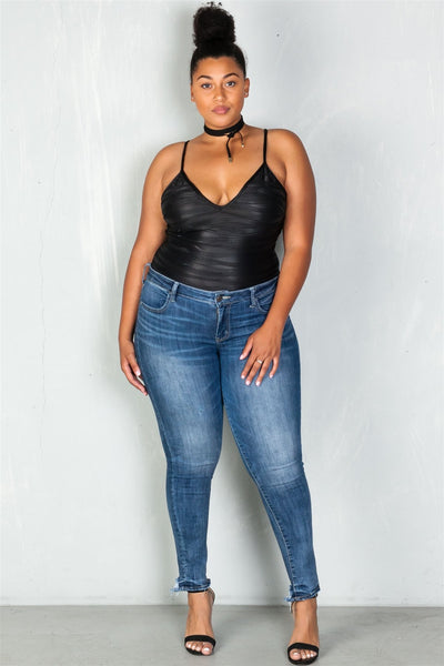 Ladies fashion plus size v neckline black textured bodysuit