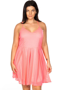 Ladies fashion plus size spaghetti strap pink nude illusion striped midi dress