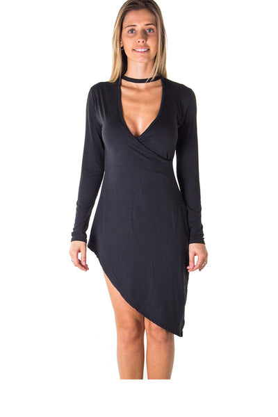 Ladies fashion choker asymmetric long sleeve mini dress