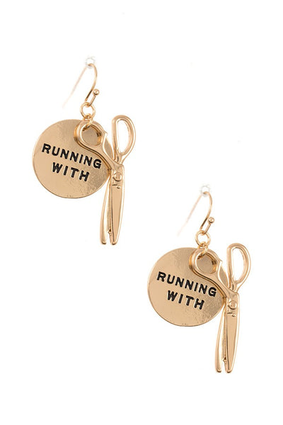 Ladies running with...disk dangle earring