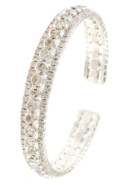 Ladies crystal gem aligned flex bracelet