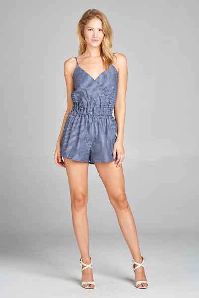Ladies fashion surplice cami plunging v-neck wrap stripe woven romper