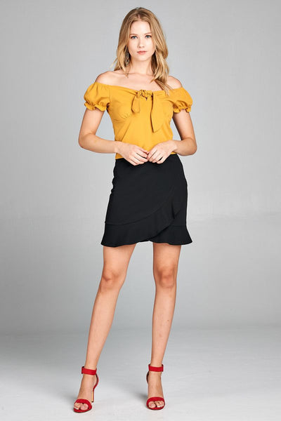 Ladies fashion short sleeve off the shoulder front heart neckline w/self tie top