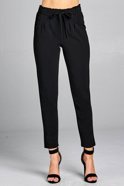 Ladies fashion waist hem and pocket ruffle detail w/self tie ankle pants