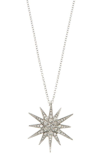 Ladies rhinestone pave star peandant long necklace