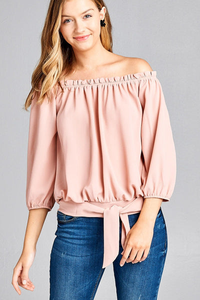 Ladies 3/4 sleeve off the shoulder top