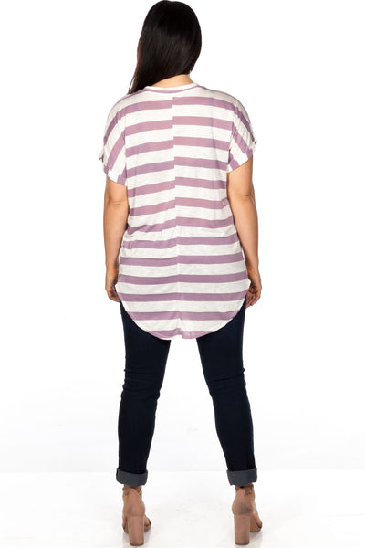 Ladies fashion plus size round neckline striped and destroyed cutout tee