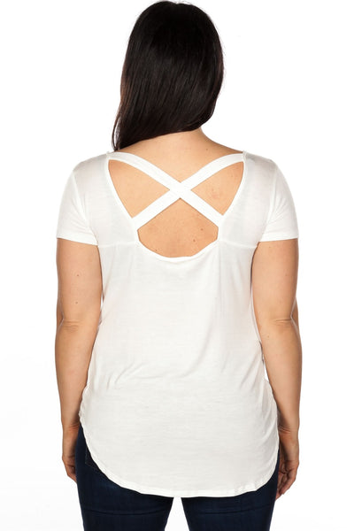 Ladies fashion plus size off white cut out criss cross back top