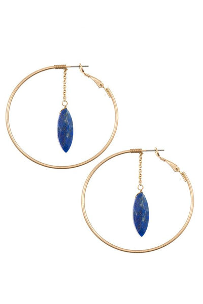 Ladies faceted semi precious marquise link round earring