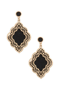 Ladies moroccan cut out orante dangle earring
