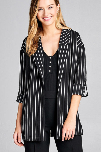 Ladies fashion 3/4 roll up sleeve open front stripe woven jacket