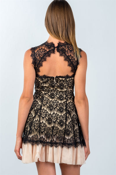 Ladies fashion sleeveless lace contrast tulle hem mini dress