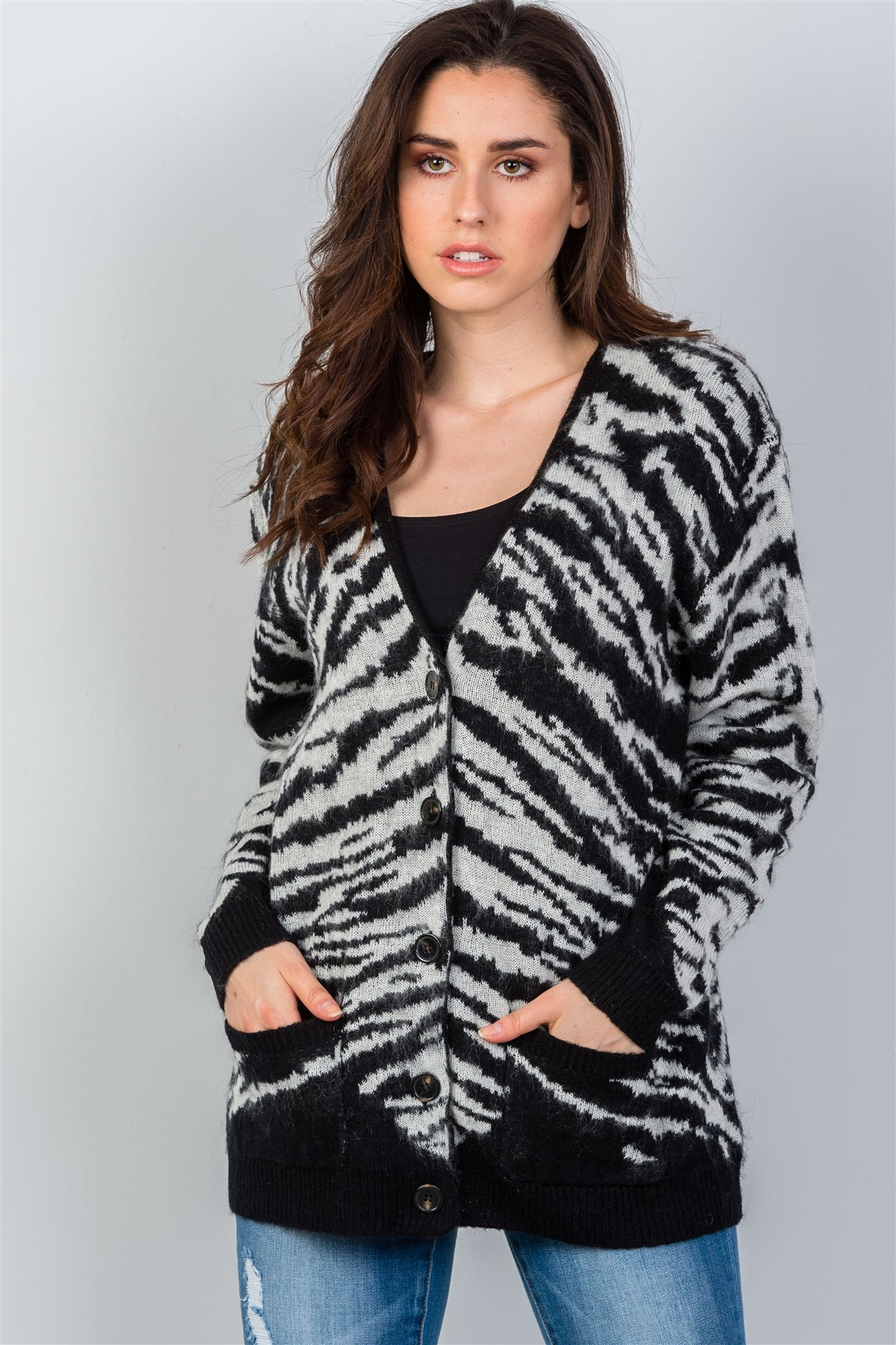 Ladies fashion white & black fuzzy button down cardigan