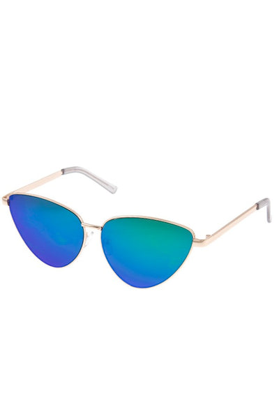 Mirror lens cat eye framed sunglasses