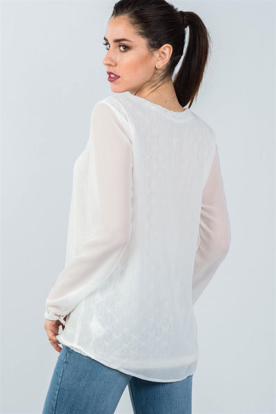 Ladies fashion long mesh sleeve top with lace underlining