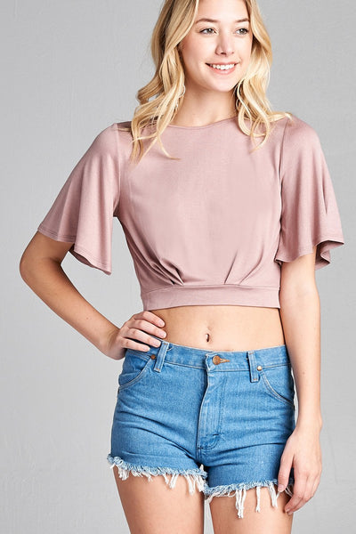 Ladies fashion short bell sleeve round neck wrap w/bow tie rayon spandex crepe knit top