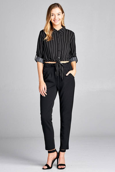 Ladies fashion 3/4 roll up sleeve front self tie w/button stripe rayon challis woven top
