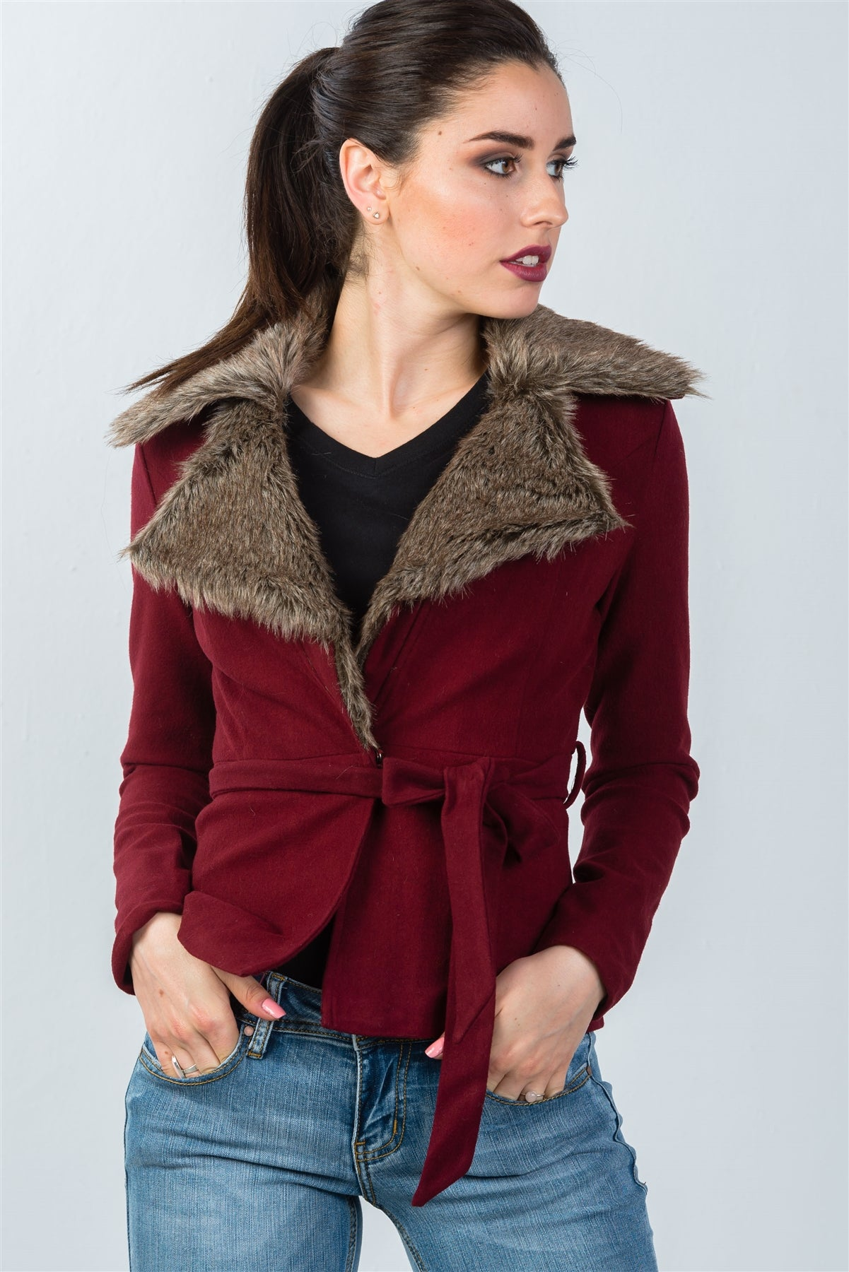 Ladies fashion hidden snap button faux fur collar belted jacket
