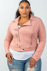 Ladies fashion plus size asymmetric zippered faux suede jacket