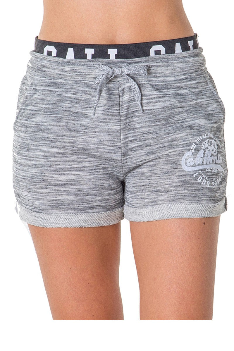 Ladies fashion french terry drawstring cuffed shorts with applique
