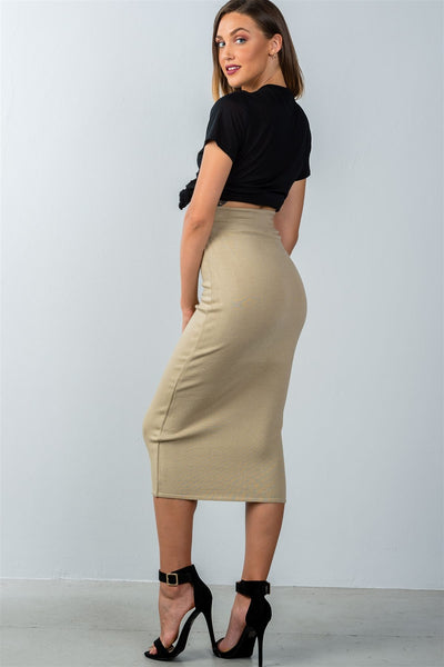 Ladies fashion high waisted ribbed knit midi skirt