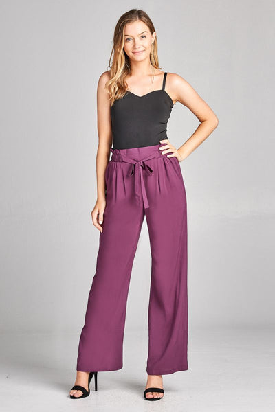 Ladies fashion self ribbon detail long wide leg woven pants