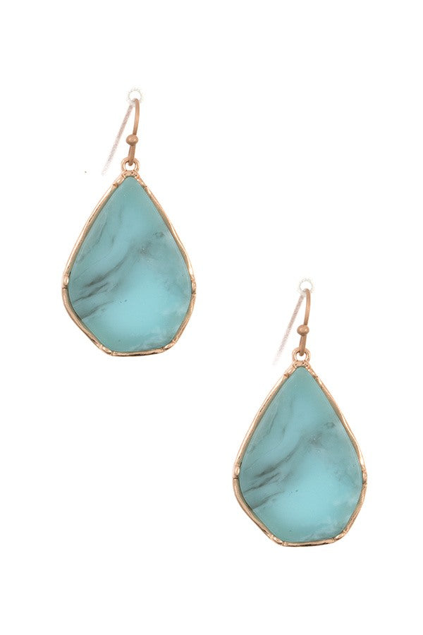 Drop framed stone earring