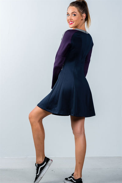 Ladies fashion  navy and purple color-block swing dress