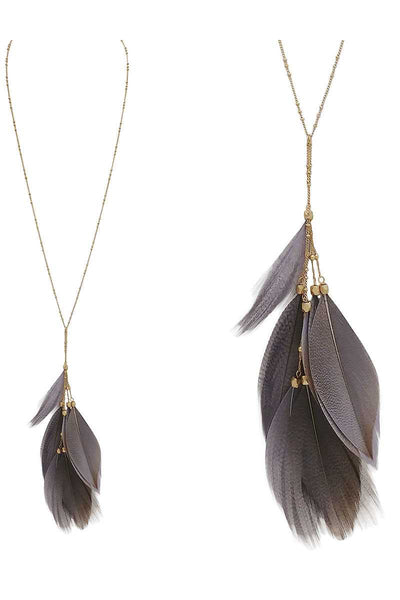Feather pendant y shape necklace