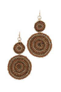 Double circle beaded drop earring