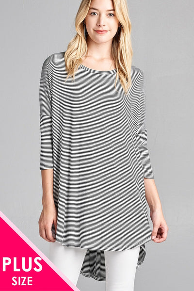 Ladies fashion plus size 3/4 dolman sleeve round neck w/back flare dart detail high and low stripe rayon spandex top