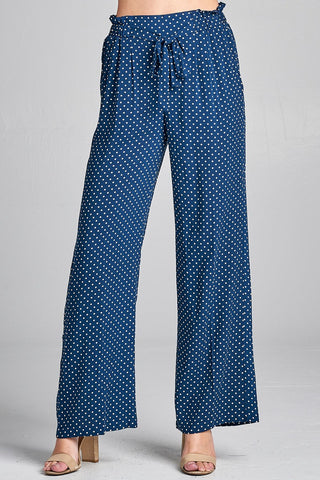 Ladies fashion self ribbon detail long wide leg dot print woven pants