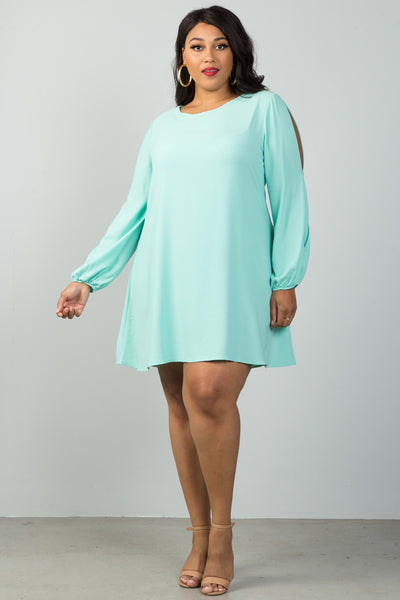 Ladies fashion plus size swing dress with split sleeve