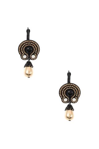 Dotted ornate drop bead dangle earring
