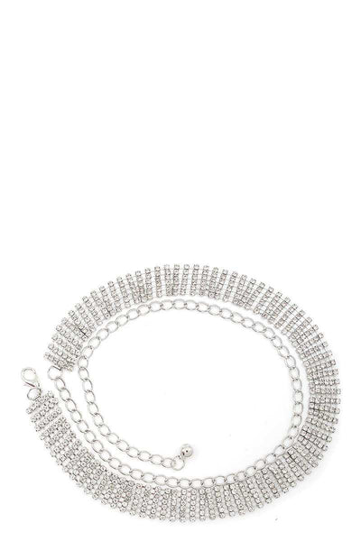 Designer chic 6-row rhinestone belt