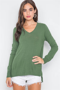 Knit V-neck Casual Solid Long Sleeve Sweater